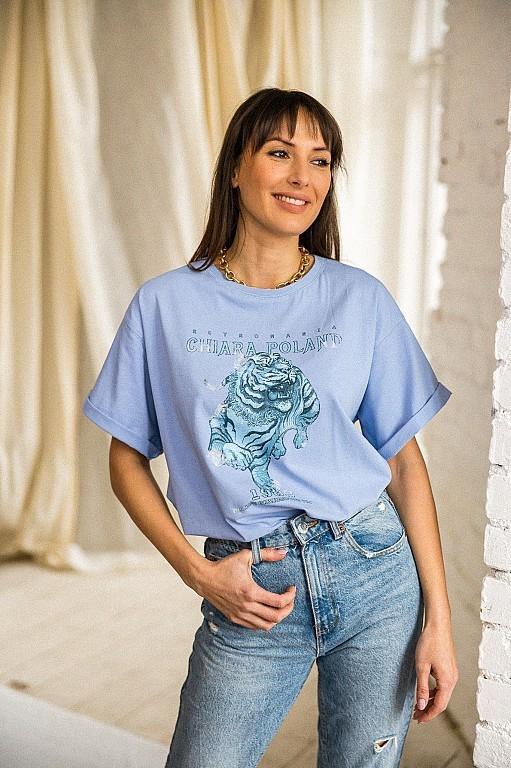 Chiara T-SHIRT TIGER - BLUE